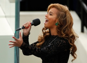Beyonce sings National Anthem during inauguration ceremonies for U.S. President Obama in Washington