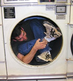 man in dryer